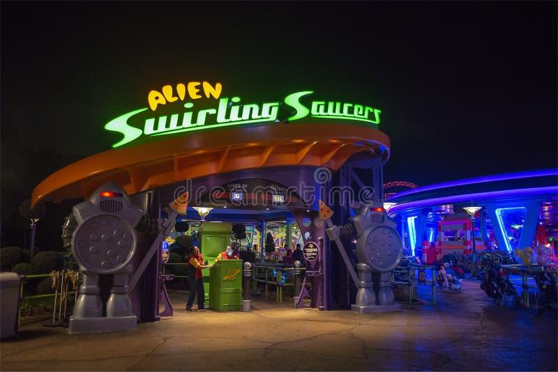 Toy Story Land Disney World, lopp, främmande tefat royaltyfri bild