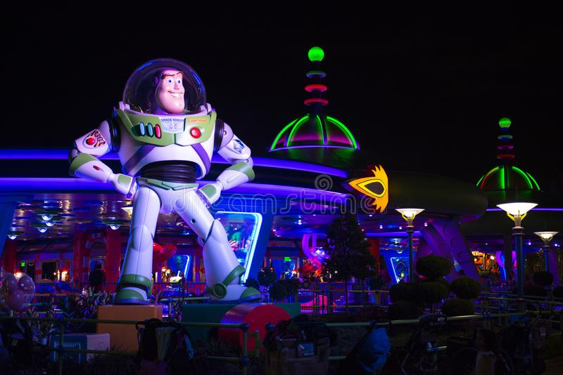 Toy Story Land, Disney World, Travel, Alien Saucers. Buzz Lightyear Alien Swirling Saucers ride in Toy Story Land of Hollywood Studios in Walt Disney World stock photography