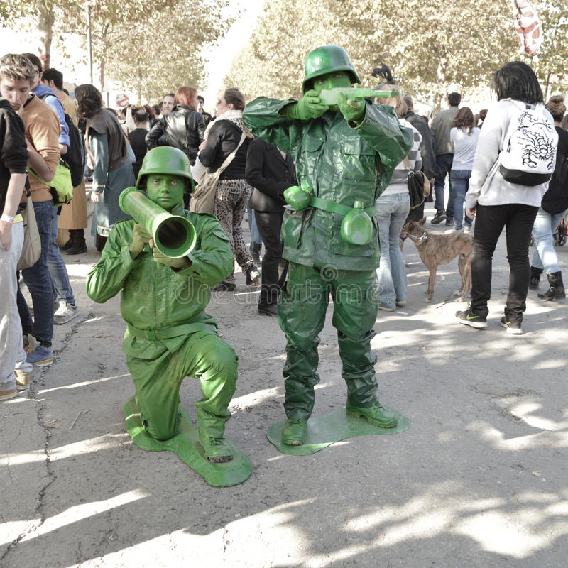 Toy Story's soldiers cosplayer at Lucca Comics and Games 2014 stock image