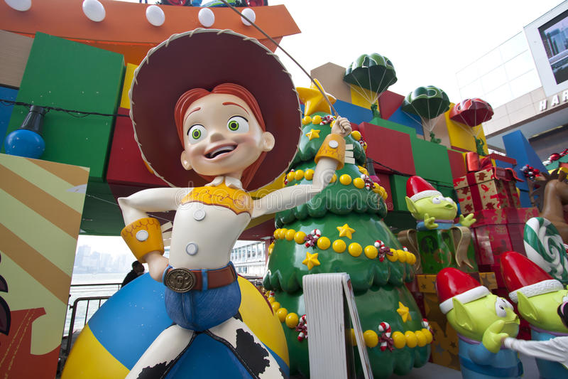 Toy Story-Weihnachtsdekorationen in Hong Kong stockfotos