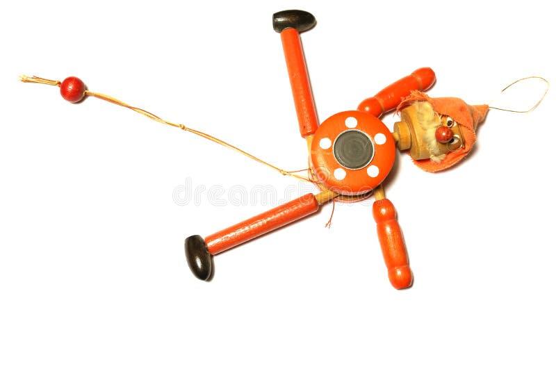 Toy Strong Pull Clown de madeira imagens de stock