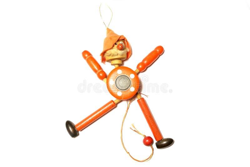 Toy Strong Pull Clown de madeira fotografia de stock royalty free