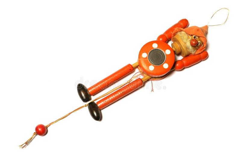 Toy Strong Pull Clown de madeira fotografia de stock