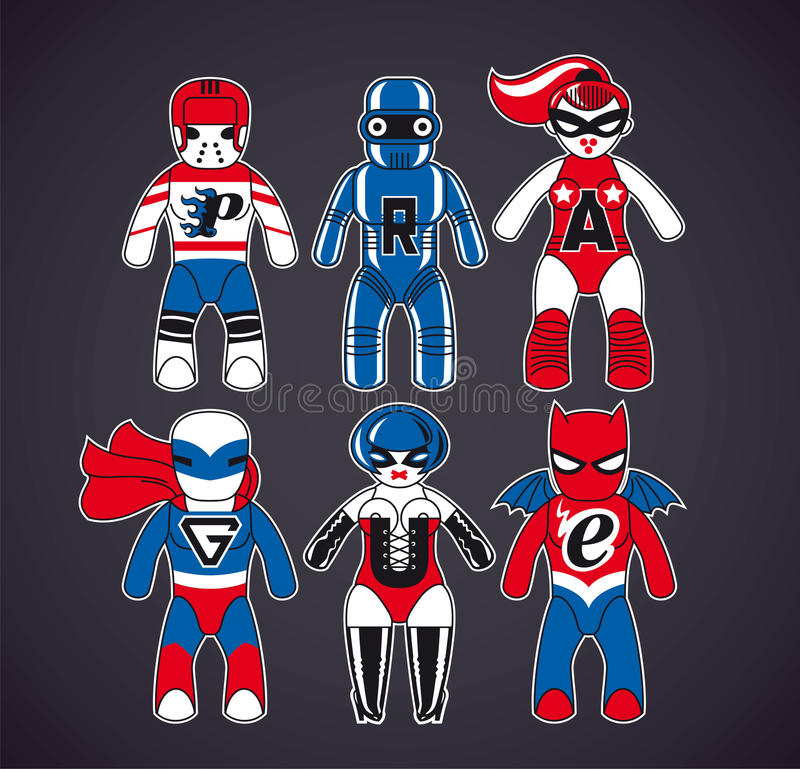 Toy superheroes. Six toy superheroes. Vector cartoon characters fit for t-shirt design vector illustration