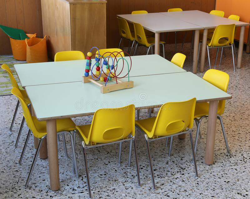 toy on the table in the kindergarten stock photography