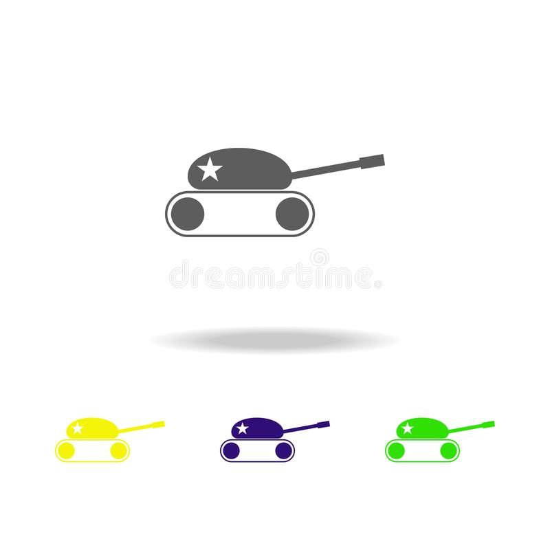 Toy tank colored icons. Element of toys. Can be used for web, logo, mobile app, UI, UX. On white background vector illustration