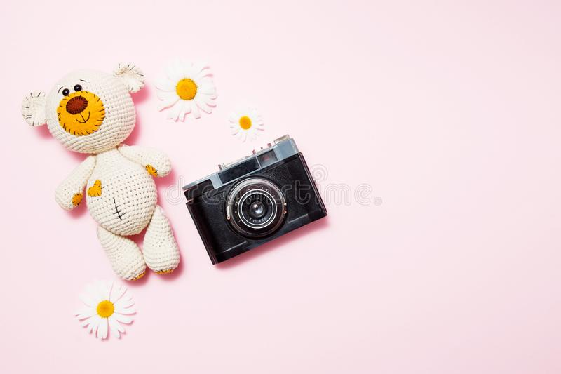 Toy teddy bear with daisies and vintage old camera isolated on a pink background. Baby background. Copy space, top view stock photography