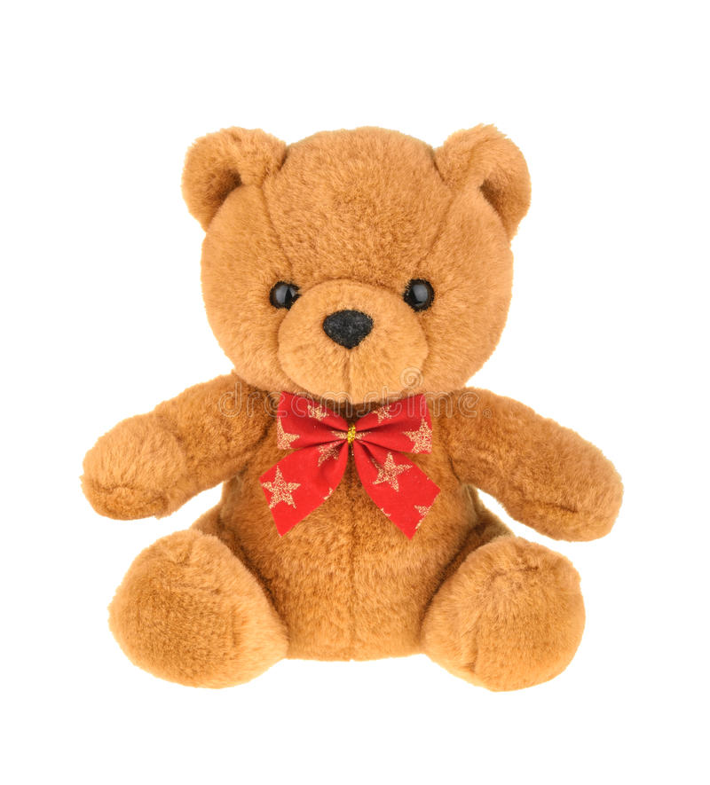 Toy teddy bear isolated on white, without shadow. royalty free stock photo