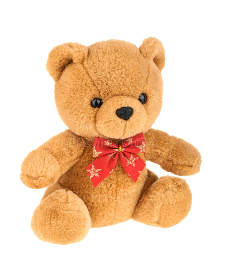 Toy teddy bear isolated on white, without shadow. Toy teddy bear isolated on white, without shadow stock photography