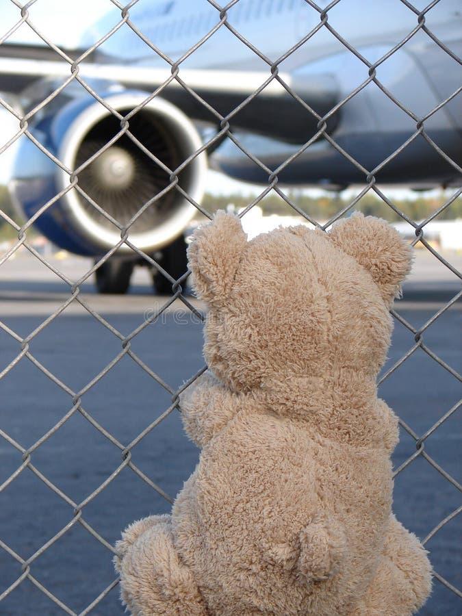 Toy Teddy Bear rencontre l'avion à l'aéroport photos libres de droits