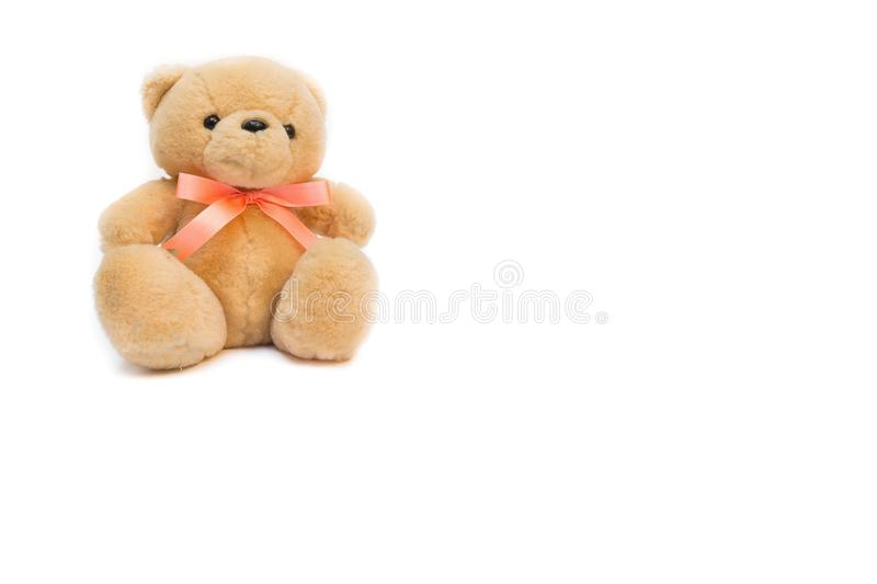 Toy Teddy bear on white background. Teddy bear on white background, teddy Knitting by hand toy for children stock image