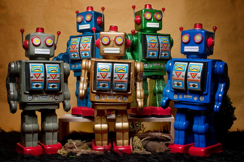 Toy Tin Robot Gathering 07 photos libres de droits