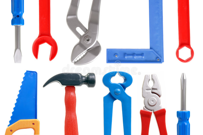 Toy tools. Set of plastic toy tools over white background stock photography