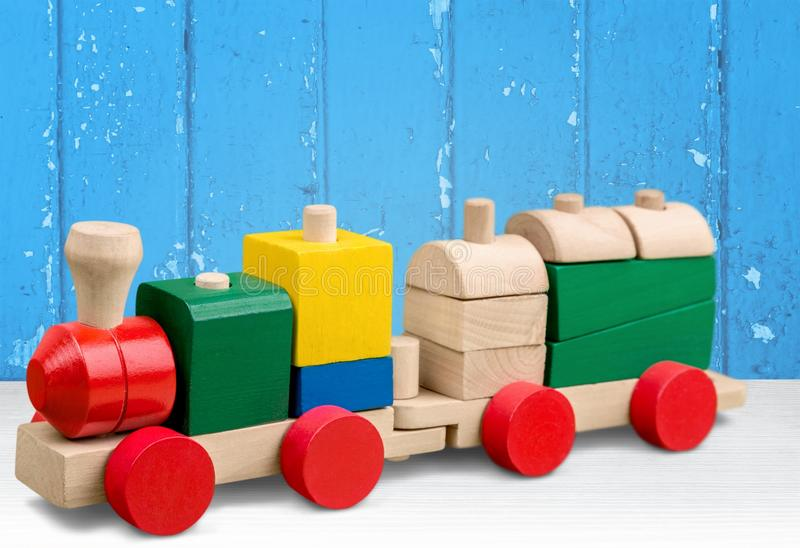 Toy. Train preschool miniature train wood single object white royalty free stock images