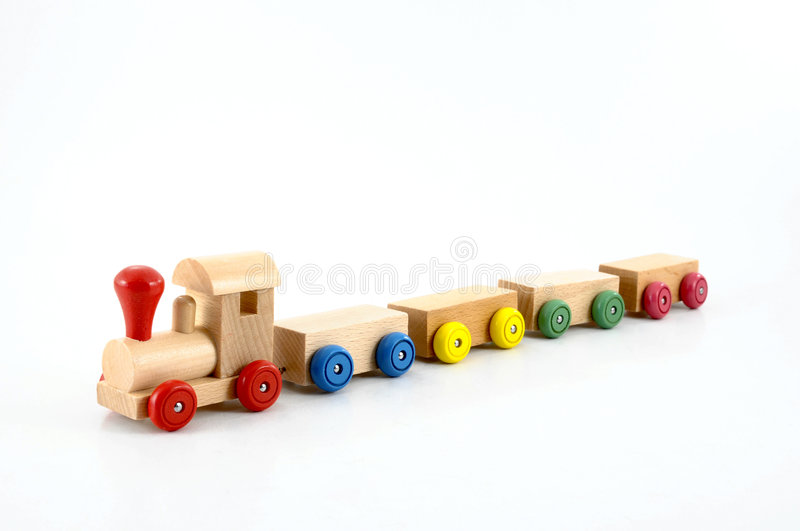 Toy train. Wooden toy train isolated on white background stock image