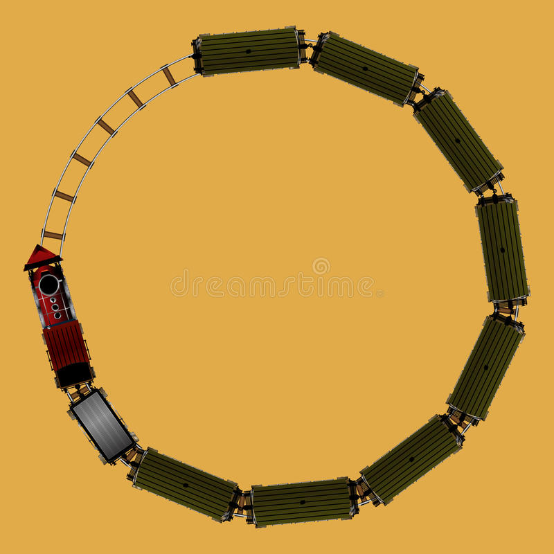 Toy train. Aerial view of a toy train for games and applications stock illustration