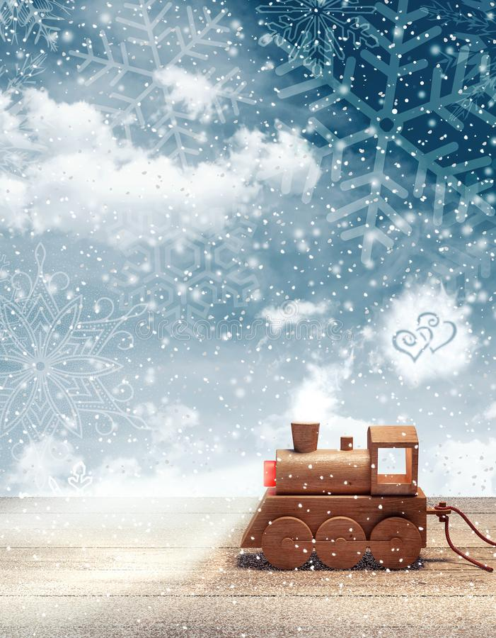 Toy train arriving with Christmas tree at snowy winter night stock illustration