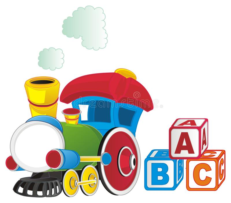 Toy train and cubs. Colored toy train with three colored cubs royalty free illustration