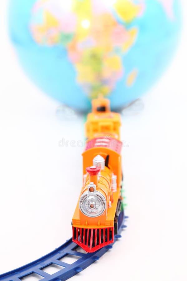 Toy Train and Globe stock photo