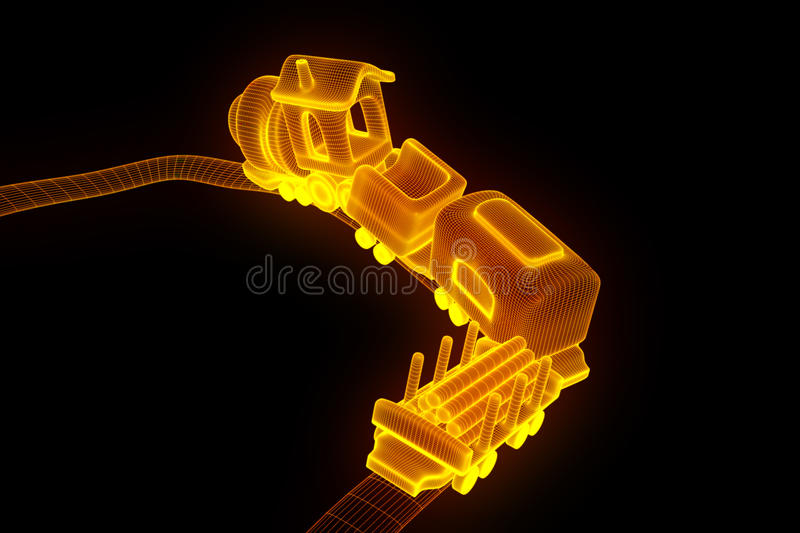 Toy Train in Hologram Wireframe Style. Nice 3D Rendering stock illustration