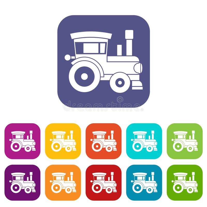 Toy train icons set. Vector illustration in flat style in colors red, blue, green, and other royalty free illustration