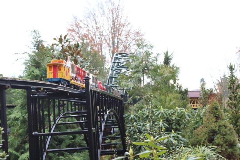 Toy Train Outdoors royaltyfri bild