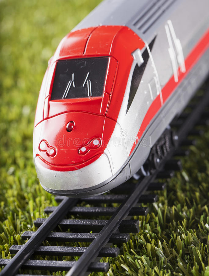 Toy train over railway royalty free stock photography
