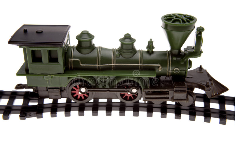 Toy train on track stock photography