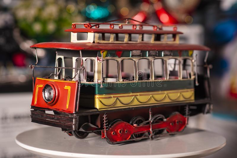 Toy train used for home decoration royalty free stock photography