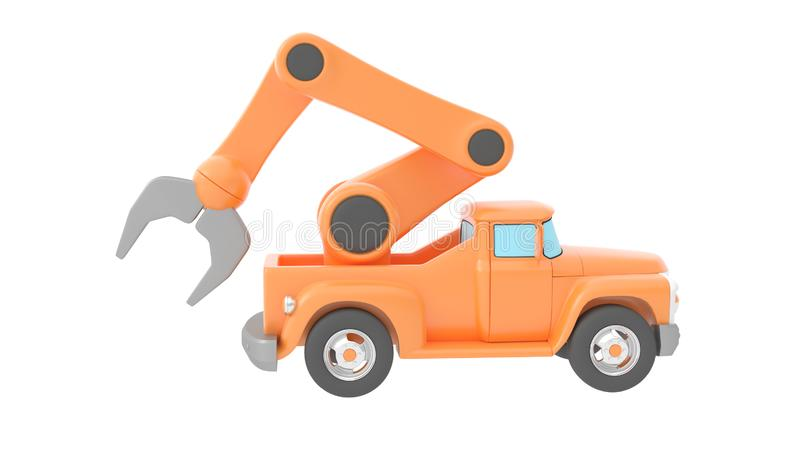 toy truck crane isolated over white backgroung. 3d rendering vector illustration