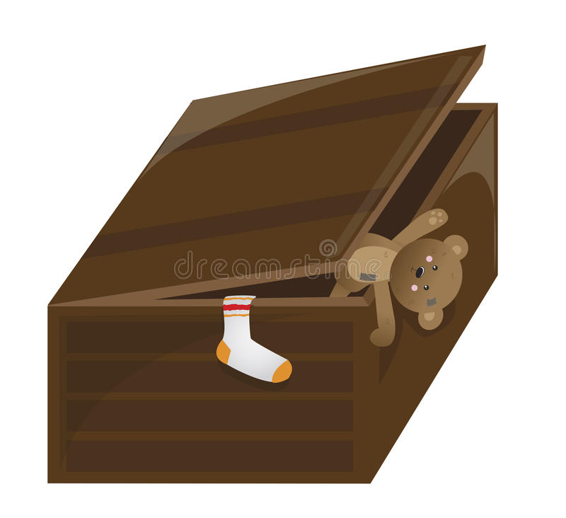 Toy trunk. Brown toy trunk on the white background royalty free illustration