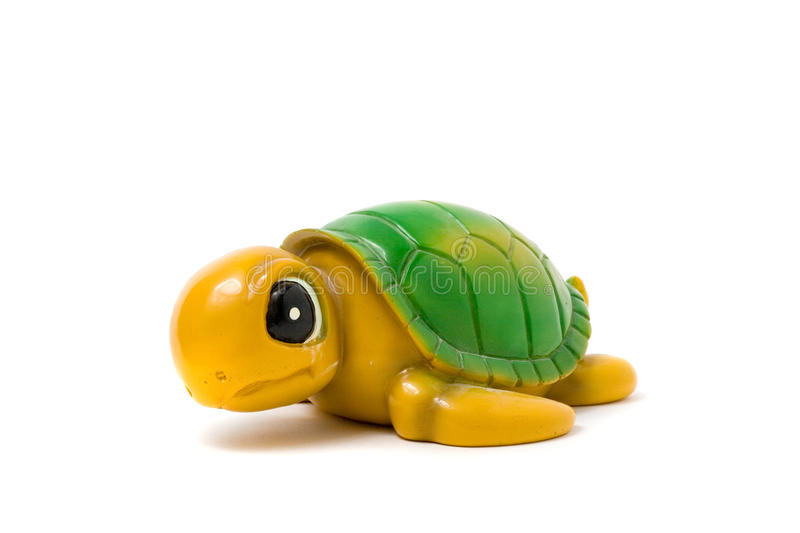 The toy turtle on a white background stock photo