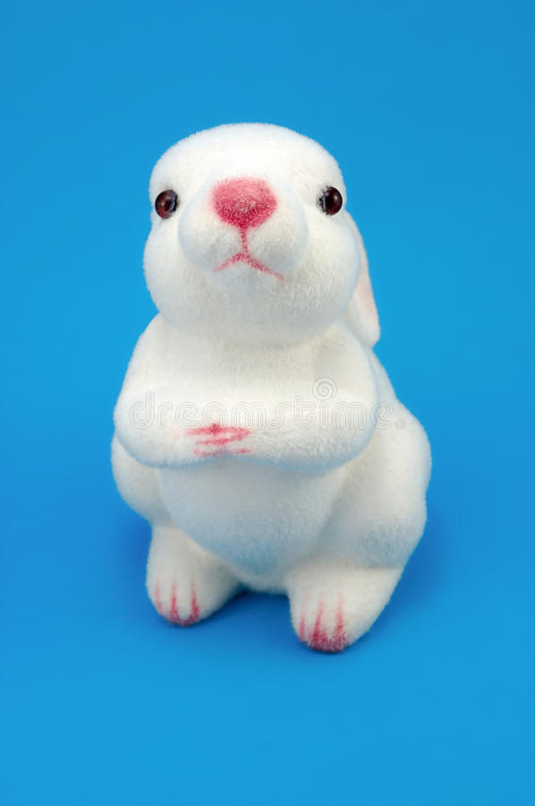 Toy White Rabbit stock photo