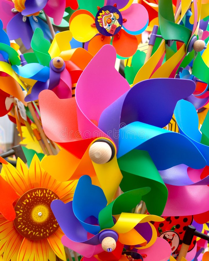 Download Toy windmills stock image. Image of spin, blue, orange - 1664473