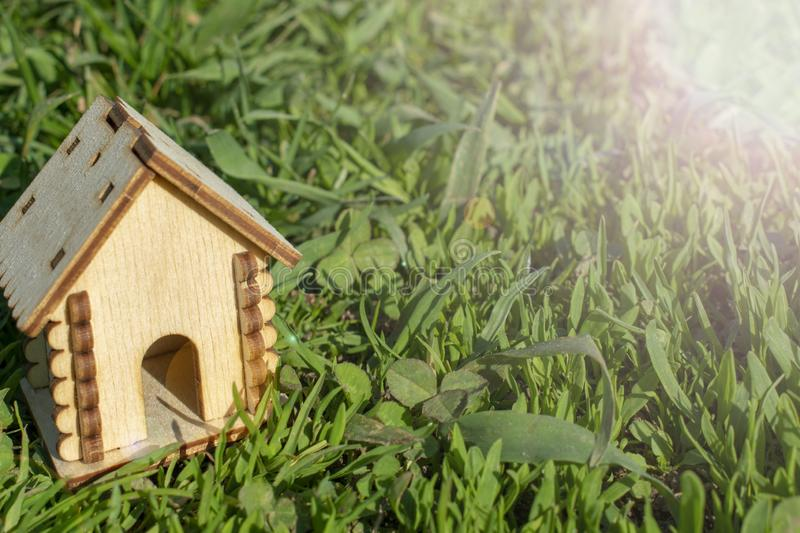 Toy wooden house on the bright grass. Sun glare on the right side. Copy space. Real estate concept. stock photos