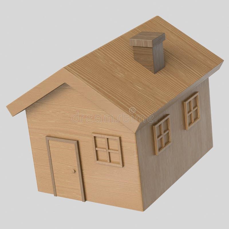 Toy Wooden House de flutuação isolado em um fundo claro sem emenda ilustração royalty free