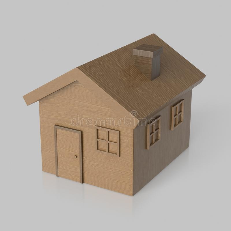 Toy Wooden House isolado em um fundo claro não marcado com reflexão ilustração royalty free