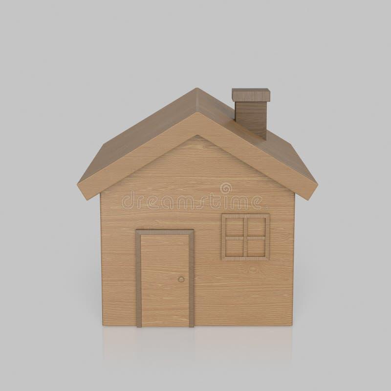 Toy Wooden House isolado em uma superfície reflexiva clara ilustração do vetor