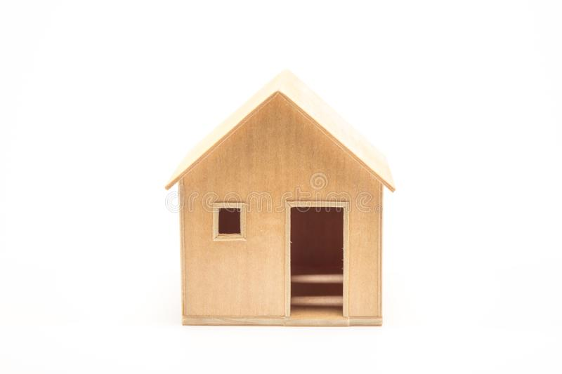 Toy wooden house model stock photos