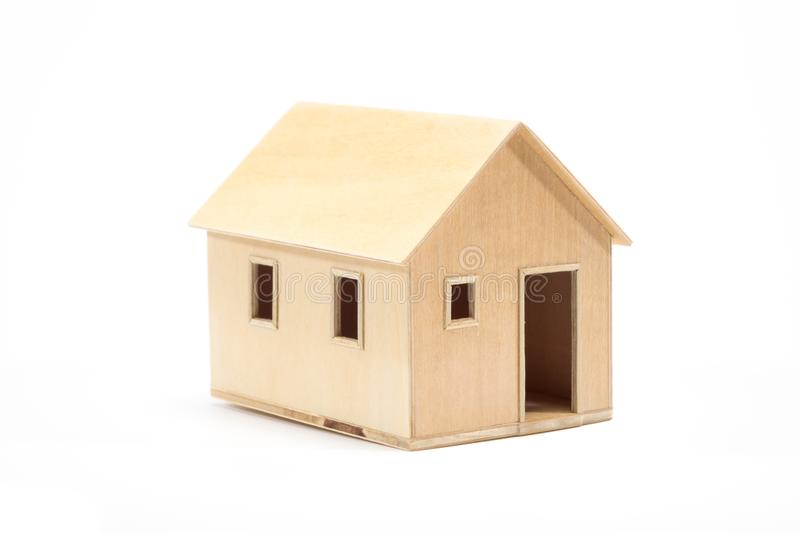 Toy wooden house model stock photo