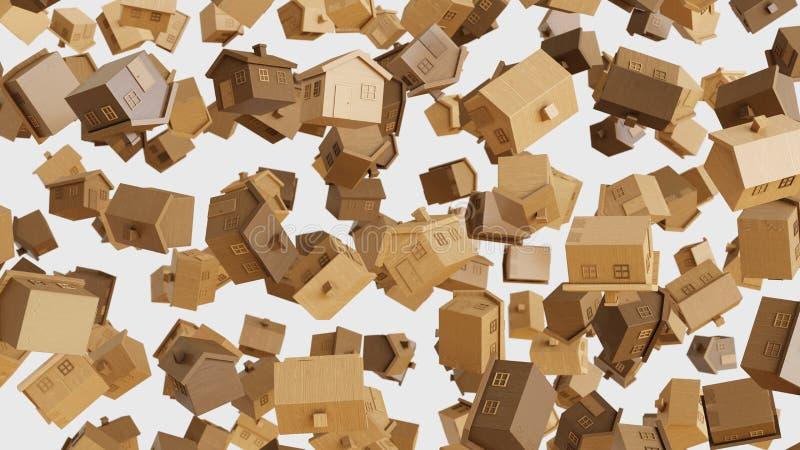 Toy Wooden Houses de flutuação numeroso em um fundo claro simples ilustração do vetor