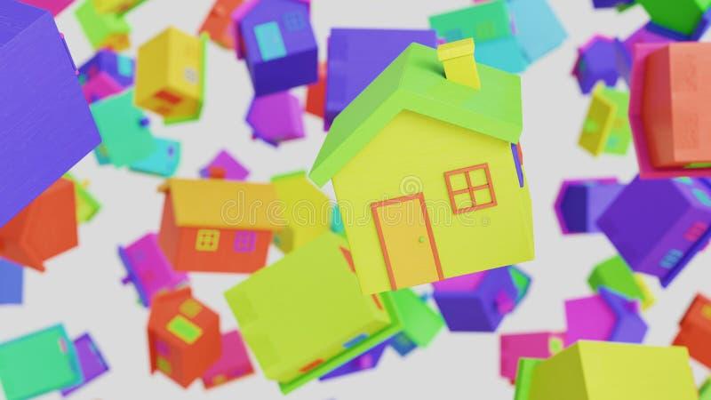 Toy Wooden Houses Floating variamente colorido em um espaço vazio ilustração do vetor