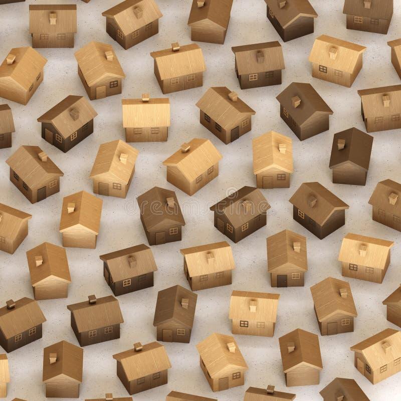Toy Wooden Houses isométrico em uma grade apertada em uma superfície concreta simples ilustração stock