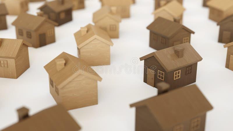 Toy Wooden Houses mesmo em uma grade em uma superfície concreta simples ilustração do vetor