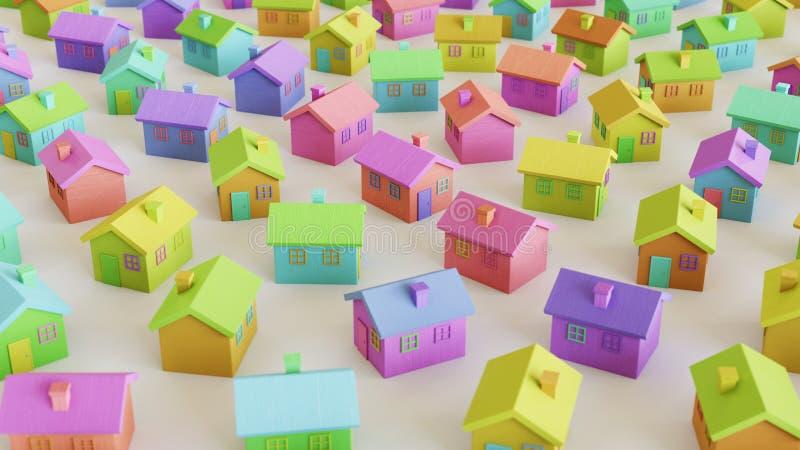 Toy Wooden Houses variamente colorido mesmo em uma grade apertada em uma superfície concreta simples ilustração stock