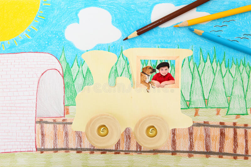 Toy Wooden Train with Boy and Dog stock photography