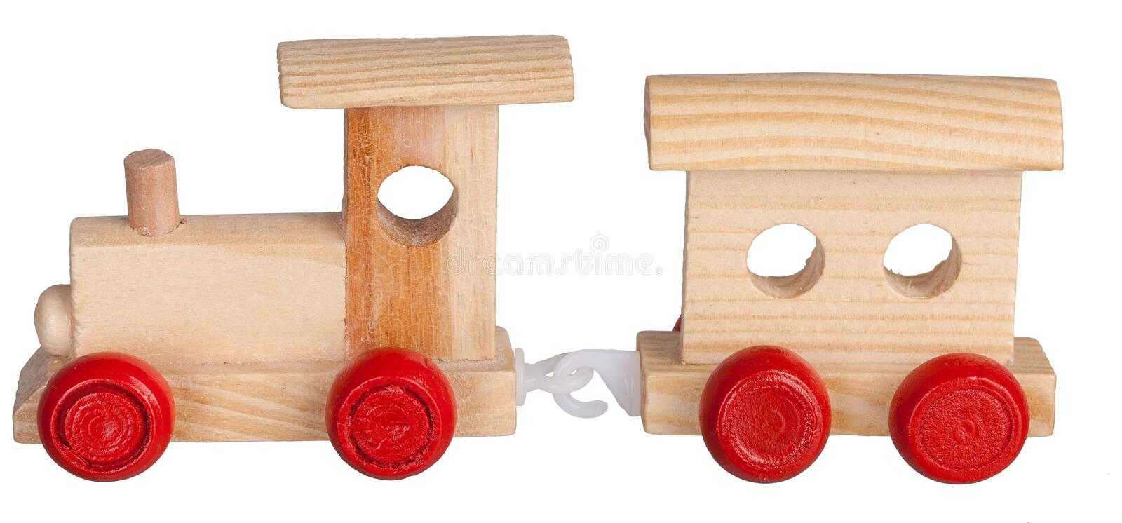 Toy wooden train with coach royalty free stock images