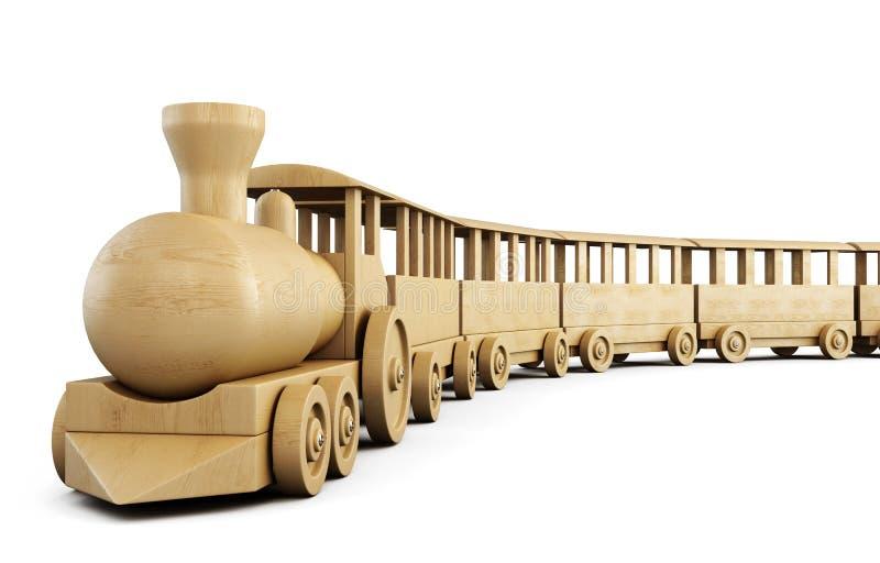 Toy wooden train. 3d. stock illustration