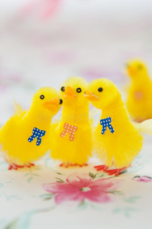 Toy Yellow Chicks for Easter Decoration royalty free stock photo