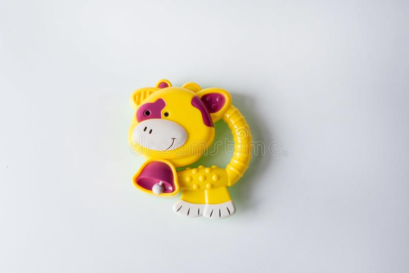 Toy yellow cow isolated on white background.toys for babies and newborn stock image